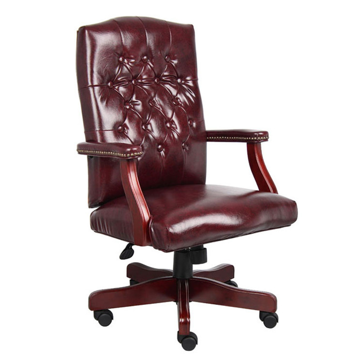 Boss Classic Executive Oxblood Vinyl Chair With Mahogany Finish Frame B905-BY