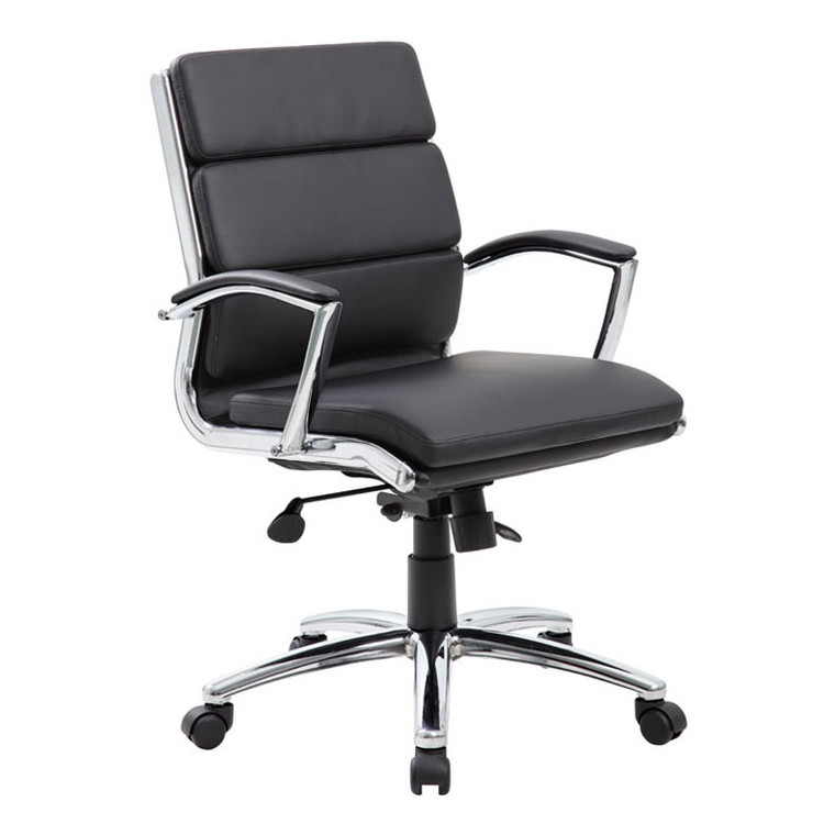 Boss Executive CaressoftPlus™ Chair with Metal Chrome Finish - Mid Back B9476-BK