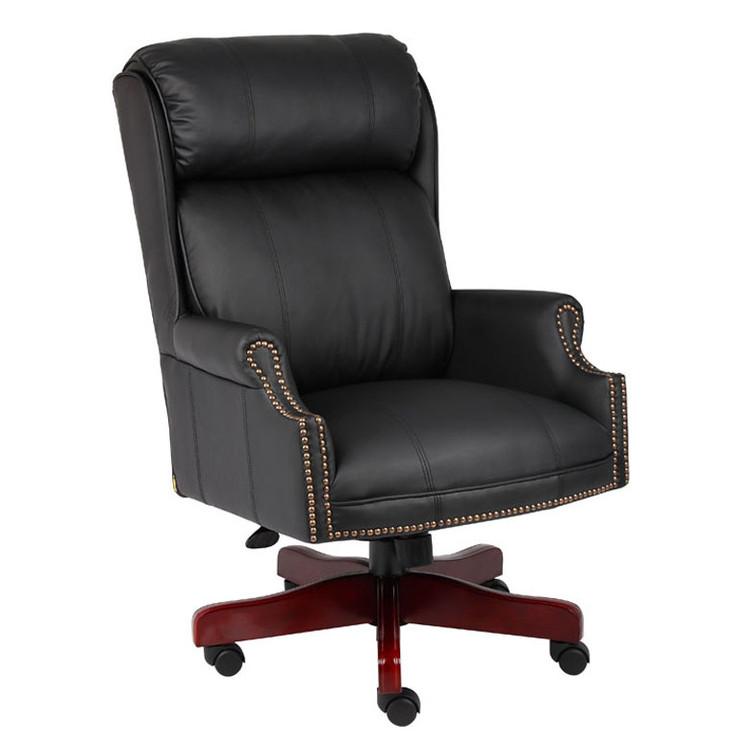 Boss Traditional High Back CaressoftPlus Chair W/Mahogany Base B980-CP