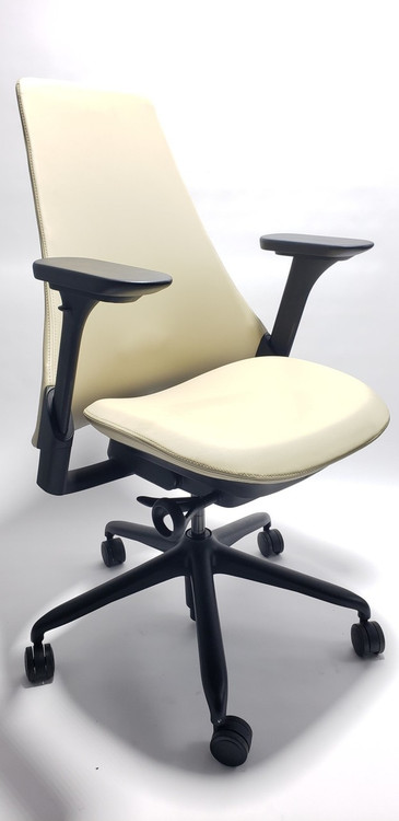Sayl Chair Beige Color Upholstered with Fully Adjustable Arms