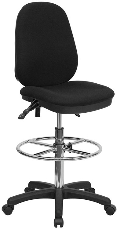 Flash Furniture Black Multifunction Ergonomic Drafting Chair with Adjustable Foot Ring
