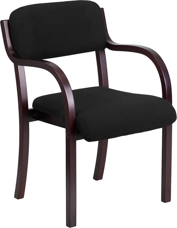 Flash Furniture Contemporary Mahogany Wood Side Reception Chair with Arms and Black Fabric Seat