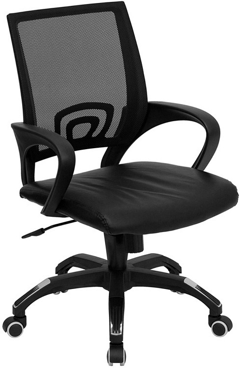 Flash Furniture Mid-Back Black Mesh Swivel Task Chair with Black Leather Seat and Arms