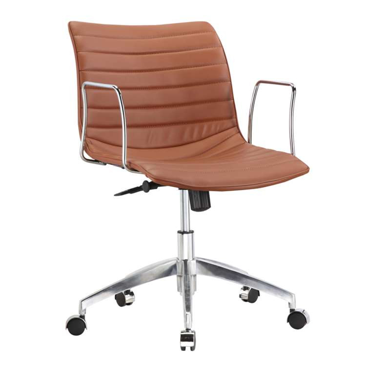 Fine Mod Comfy Office Chair Mid Back, Light Brown