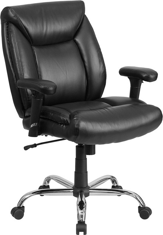 Flash Furniture HERCULES Series Big & Tall 400 lb. Rated Black Leather Swivel Task Chair with Adjustable Arms 1