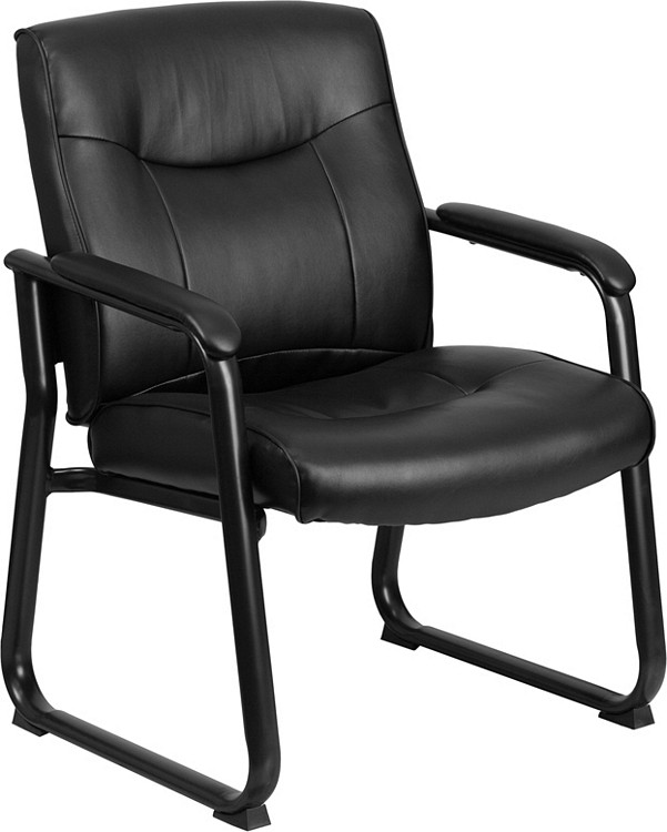 Flash Furniture HERCULES Series Big & Tall 500 lb. Rated Black Leather Executive Side Reception Chair with Sled Base