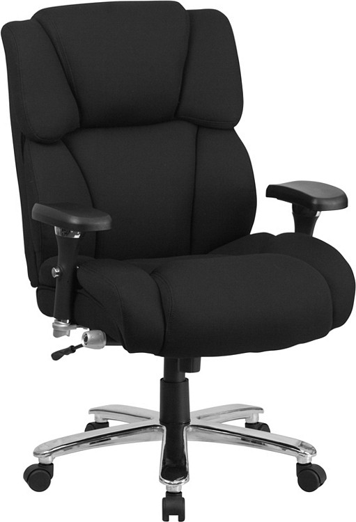 Flash Furniture HERCULES Series 24/7 Intensive Use Big & Tall 400 lb. Rated Black Fabric Executive Swivel Chair with Lumbar Knob 1