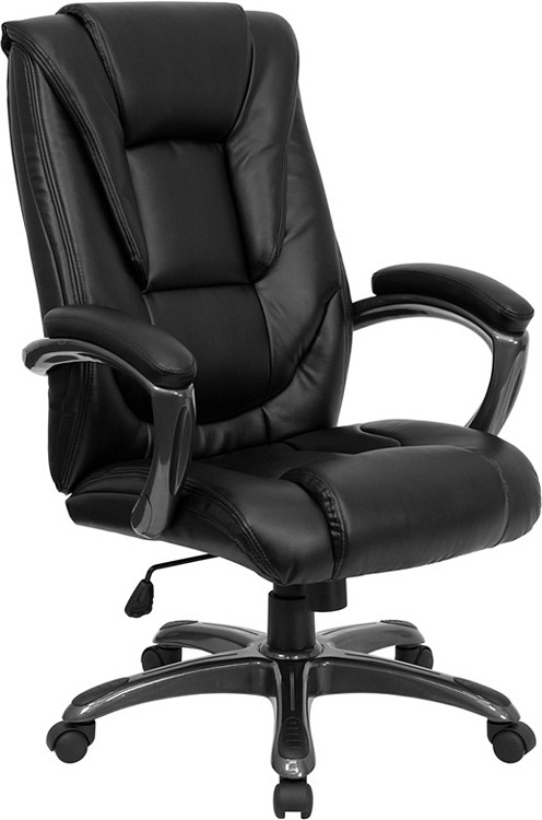 Flash Furniture High Back Black Leather Executive Swivel Chair with Arms 16