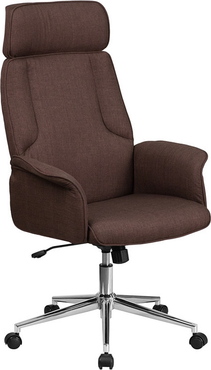 Flash Furniture High Back Brown Fabric Executive Swivel Chair with Chrome Base and Fully Upholstered Arms