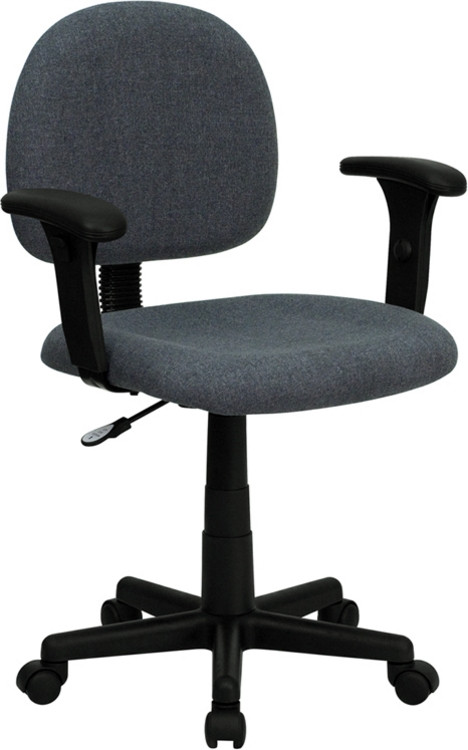 Flash Furniture Low Back Gray Fabric Swivel Task Chair with Adjustable Arms