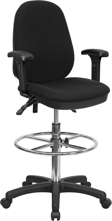 Flash Furniture Black Multifunction Ergonomic Drafting Chair with Adjustable Foot Ring and Adjustable Arms