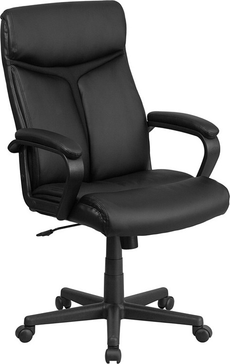 Flash Furniture High Back Black Leather Executive Swivel Chair with Arms 10