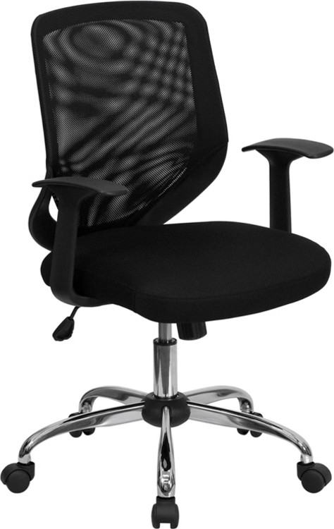 Flash Furniture Mid-Back Black Mesh Swivel Task Chair with Arms 3