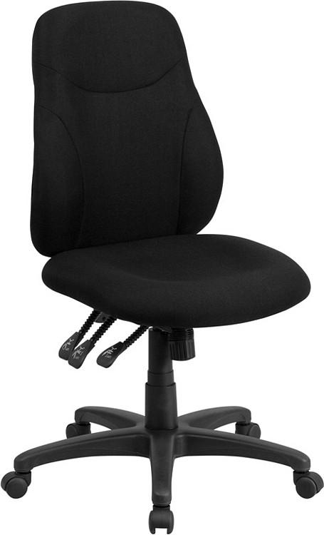 Flash Furniture Mid-Back Black Fabric Multifunction Ergonomic Swivel Task Chair