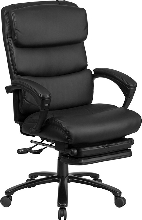 Flash Furniture High Back Black Leather Executive Reclining Swivel Chair with Comfort Coil Seat Springs and Arms 1