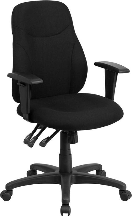 Flash Furniture Mid-Back Black Fabric Multifunction Ergonomic Swivel Task Chair with Adjustable Arms