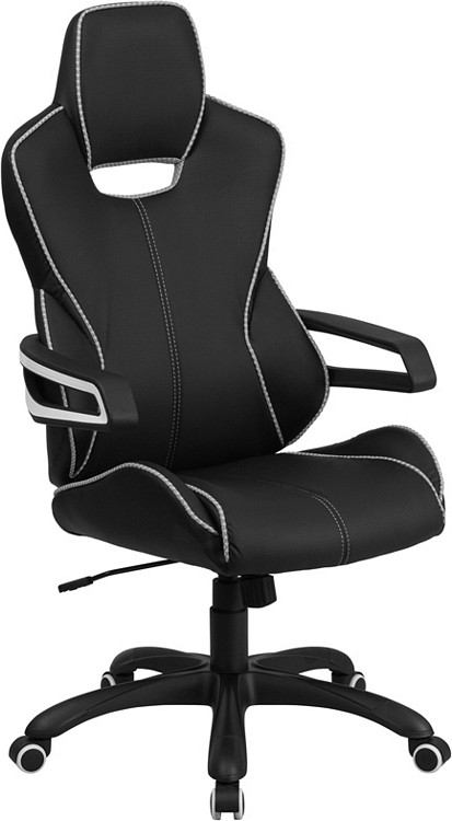 Flash Furniture High Back Black Vinyl Executive Swivel Chair with White Trim and Arms