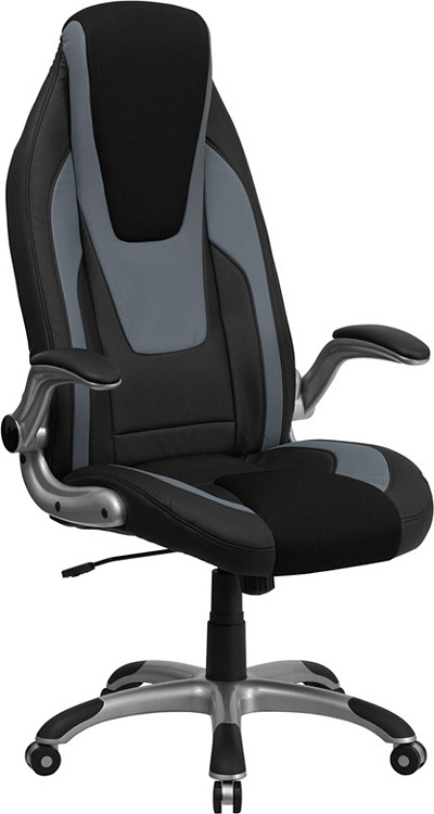 Flash Furniture High Back Black and Gray Vinyl Executive Swivel Chair with Black Mesh Insets and Flip-Up Arms