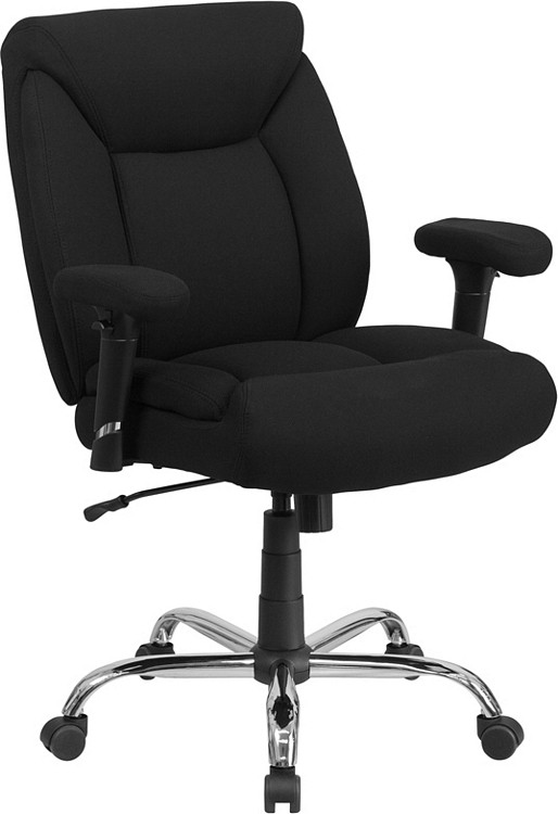 Flash Furniture HERCULES Series Big & Tall 400 lb. Rated Black Fabric Swivel Task Chair with Adjustable Arms