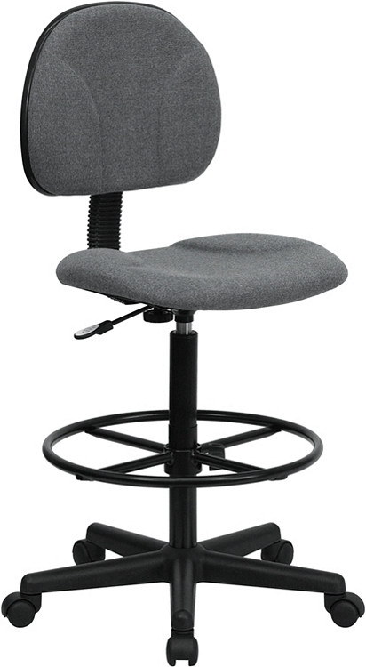 Flash Furniture Gray Fabric Drafting Chair