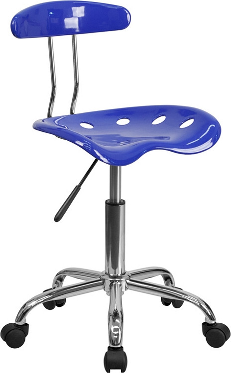 Flash Furniture Vibrant Nautical Blue and Chrome Swivel Task Chair with Tractor Seat