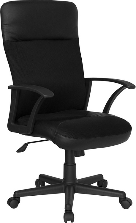 Flash Furniture High Back Black Leather and Mesh Executive Swivel Chair with Arms
