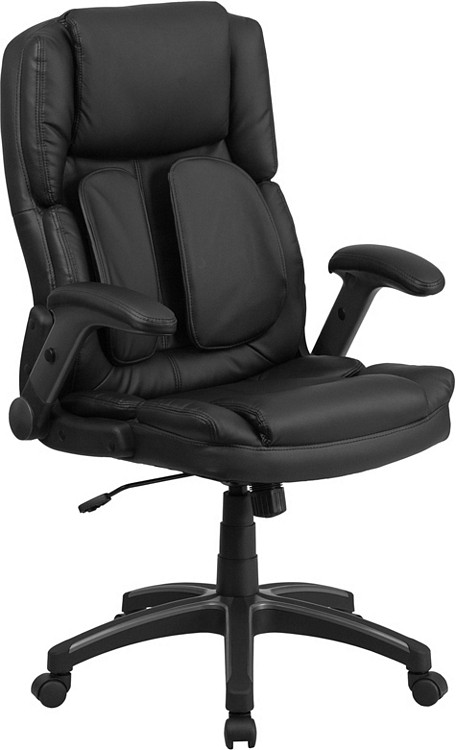 Flash Furniture Extreme Comfort High Back Black Leather Executive Swivel Chair with Flip-Up Arms