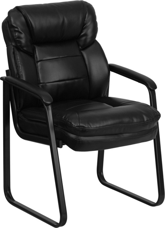 Flash Furniture Black Leather Executive Side Reception Chair with Sled Base 1