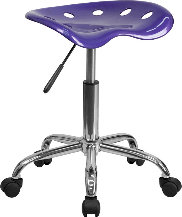 Flash Furniture Vibrant Violet Tractor Seat and Chrome Stool