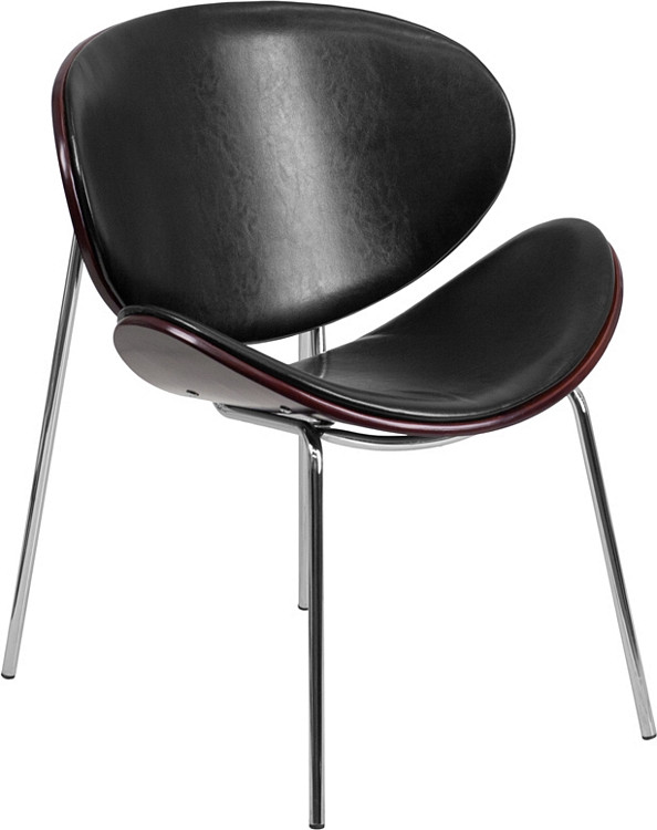 Flash Furniture Mahogany Bentwood Leisure Side Reception Chair with Black Leather Seat