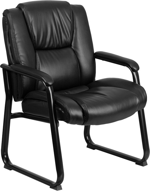 Flash Furniture HERCULES Series Big & Tall 500 lb. Rated Black Leather Executive Side Reception Chair with Sled Base 1
