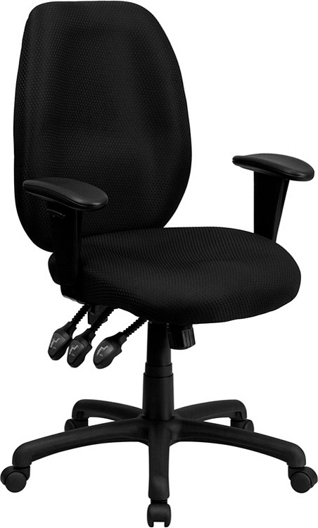 Flash Furniture High Back Black Fabric Multifunction Ergonomic Executive Swivel Chair with Adjustable Arms