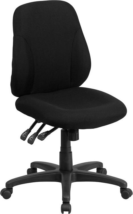 Flash Furniture Mid-Back Black Fabric Multifunction Ergonomic Swivel Task Chair 1
