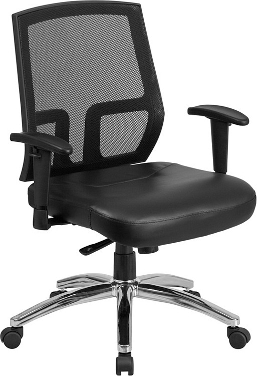 Flash Furniture HERCULES Series Big & Tall 400 lb. Rated Black Mesh Mid-Back Executive Swivel Chair with Leather Seat and Arms
