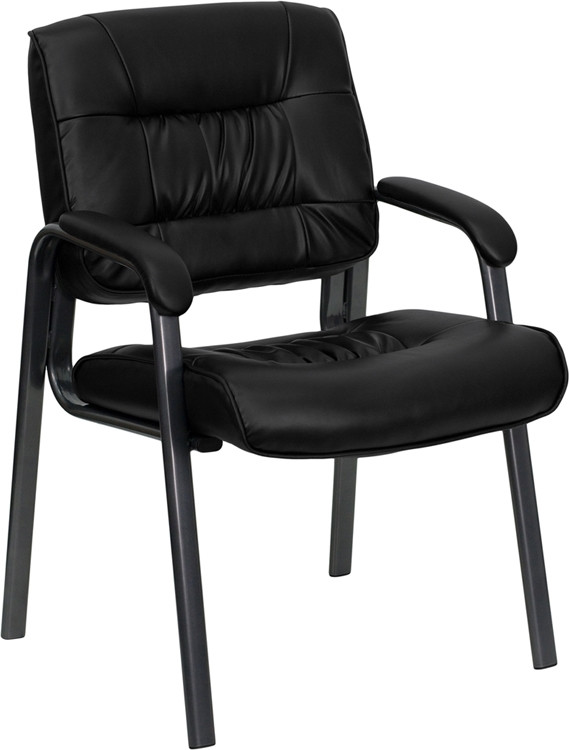 Flash Furniture Black Leather Executive Side Reception Chair with Titanium Frame Finish