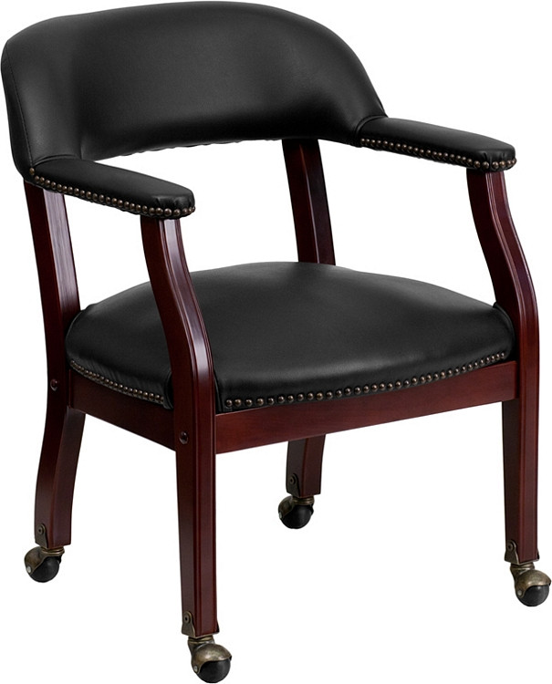 Flash Furniture Black Vinyl Luxurious Conference Chair with Casters