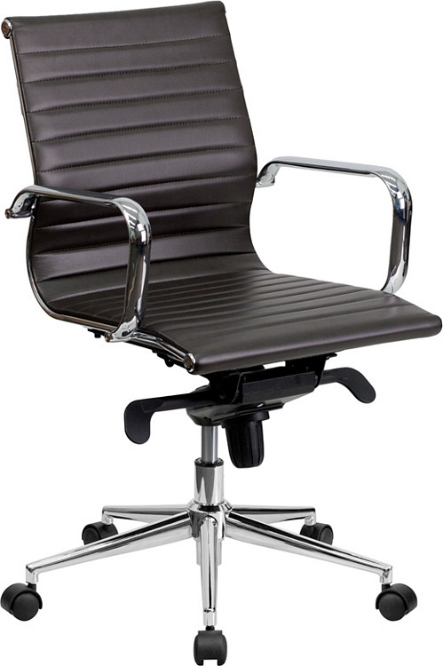 Flash Furniture Mid-Back Brown Ribbed Leather Swivel Conference Chair with Knee-Tilt Control and Arms