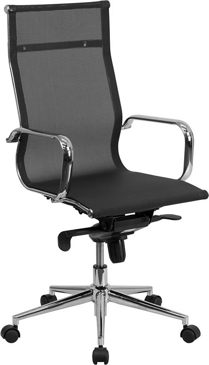 Flash Furniture High Back Transparent Black Mesh Executive Swivel Chair with Synchro-Tilt Mechanism and Arms