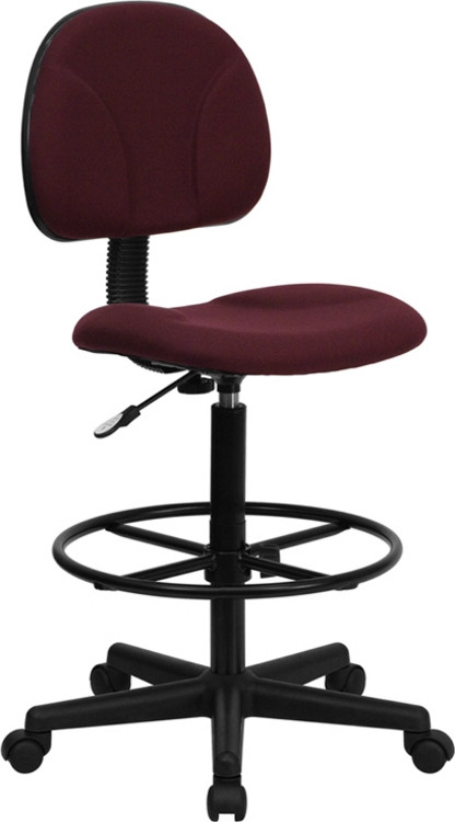 Flash Furniture Burgundy Fabric Drafting Chair