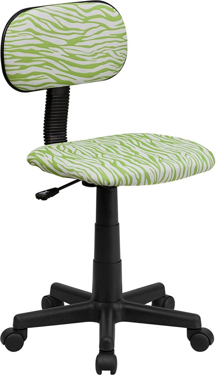 Flash Furniture Green and White Zebra Print Swivel Task Chair