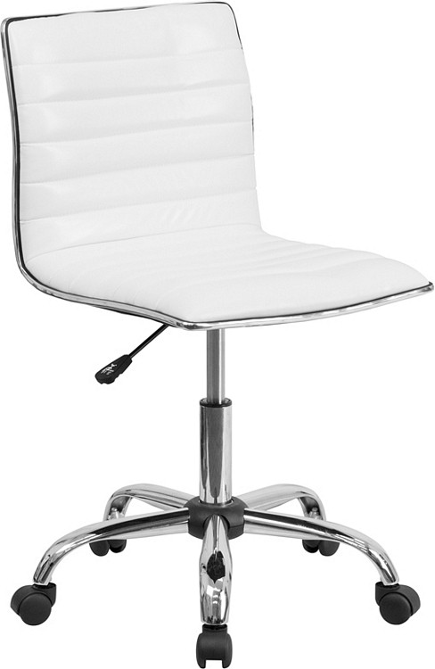Flash Furniture Low Back Designer Armless White Ribbed Swivel Task Chair