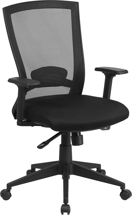 Flash Furniture Mid-Back Black Mesh Executive Swivel Chair with Back Angle Adjustment and Adjustable Arms