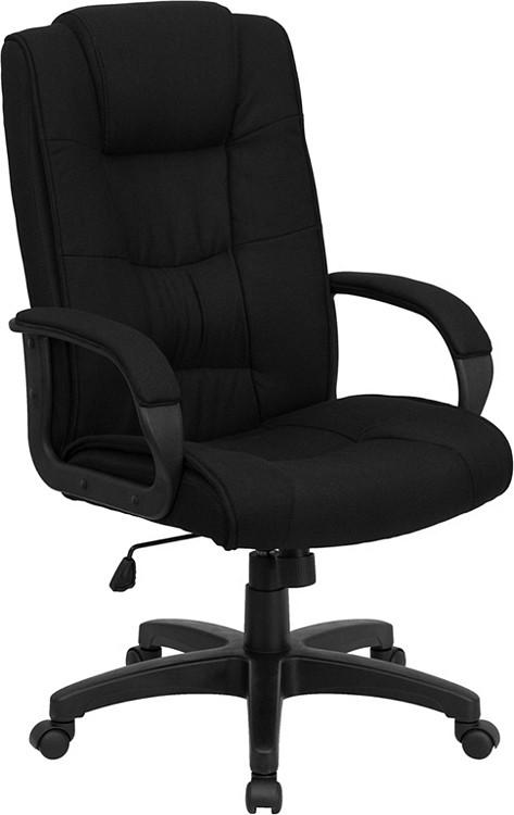 Flash Furniture High Back Black Fabric Executive Swivel Chair with Arms 1