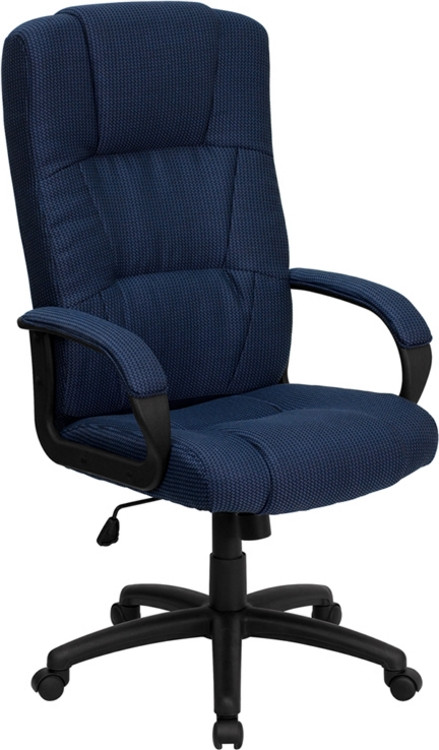 Flash Furniture High Back Navy Blue Fabric Executive Swivel Chair with Arms 1