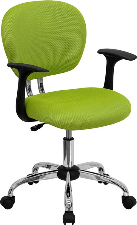 Flash Furniture Mid-Back Apple Green Mesh Swivel Task Chair with Chrome Base and Arms