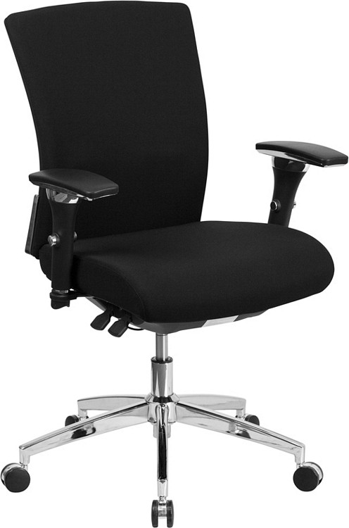 Flash Furniture HERCULES Series 24/7 Intensive Use 300 lb. Rated Black Fabric Multifunction Executive Swivel Chair with Seat Slider