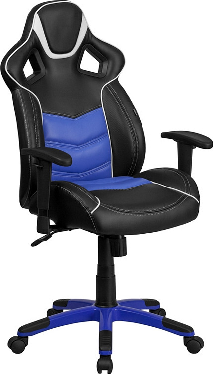 Flash Furniture High Back Monterey Blue Executive Gaming-Racing Swivel Chair with Comfort Coil Seat Springs and Blue Base 1