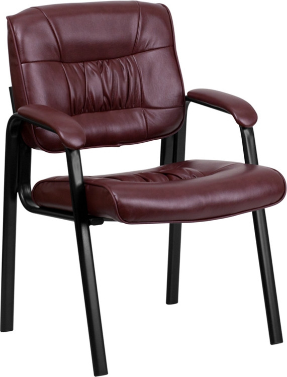 Flash Furniture Burgundy Leather Executive Side Reception Chair with Black Frame Finish