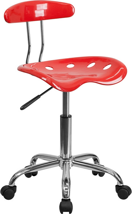 Flash Furniture Vibrant Cherry Tomato and Chrome Swivel Task Chair with Tractor Seat