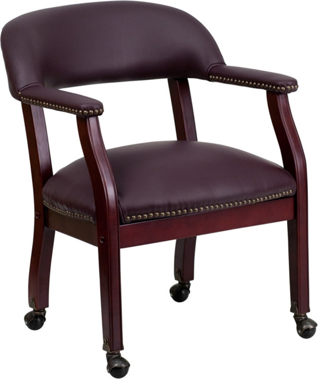 Flash Furniture Burgundy Top Grain Leather Conference Chair with Casters